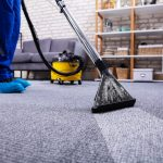 Human Cleaning Carpet In The Living Room Using Carpet Cleaner At Home
